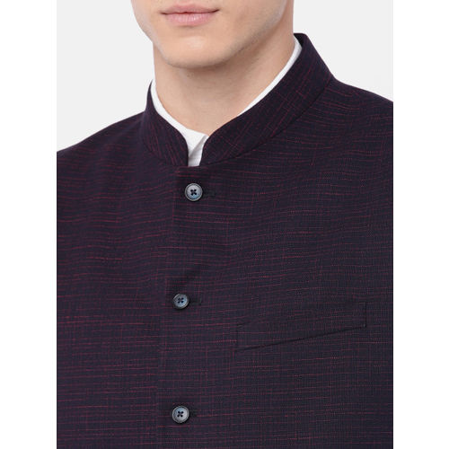 Raymond Men Navy & Maroon Woven Design Contemporary Fit Nehru Jacket