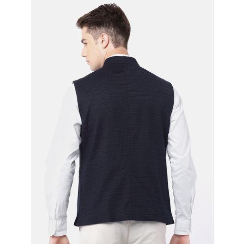 Raymond Men Navy Woven-Design Contemporary Fit Nehru Jacket