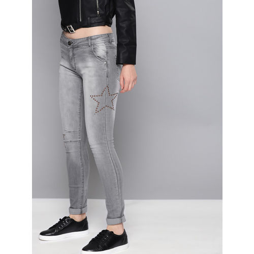 NUSH Women Grey Regular Fit Mid-Rise Clean Look Stretchable Jeans