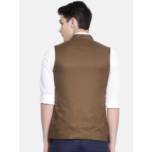 The Indian Garage Co Brown Solid Nehru Jacket