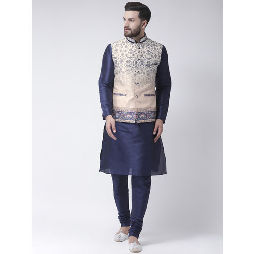 I Know Cream Silk Floral Printed Nehru Jacket