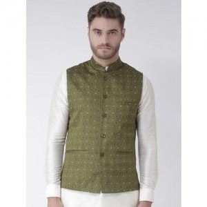 DEYANN Men Green Printed Nehru Jacket