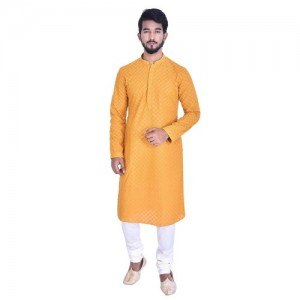 Manyavar Men's Full Sleeve Regular Fit Banded Collar Kurta & Churidar Set