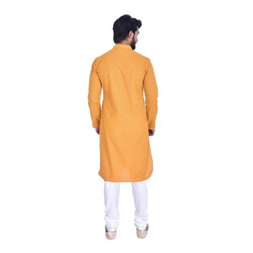 Manyavar Men's Full Sleeve Regular Fit Banded Collar Kurta & Churidar Set