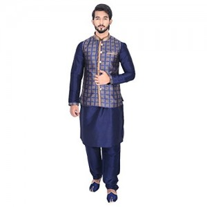 Manyavar Men's Dark Blue Full Sleeve Regular Fit Textured Kurta Paired with Churidar & Designer Nehru Jacket