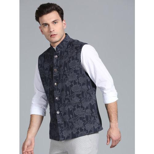 Rohit Bal Limited Men Navy Blue & Grey Printed Nehru Jacket