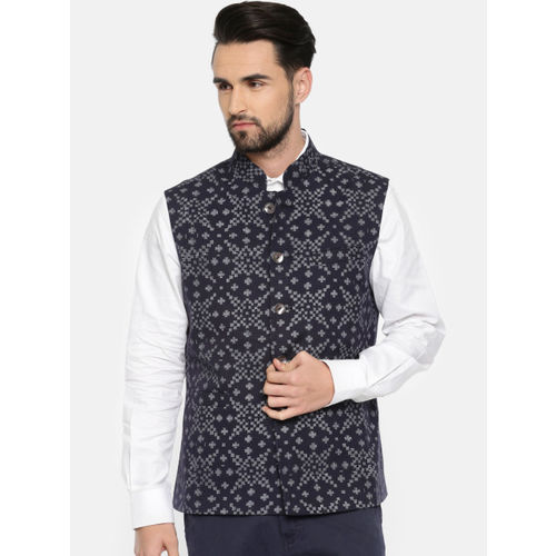 Rohit Bal Limited Men Navy Blue & Grey Printed Nehru Jacket