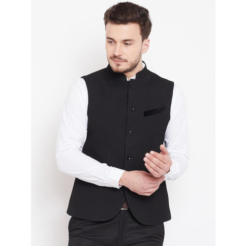 Blackberrys Men Black Self-Design Nehru Jacket