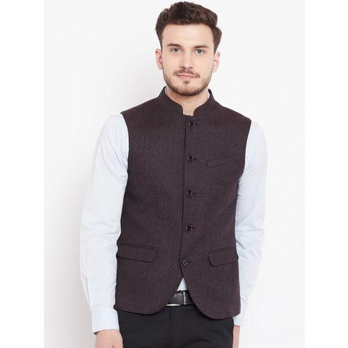 Blackberrys Men Burgundy Solid Nehru Jacket