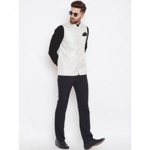 Even White Silk Solid Sleeveless Nehru Jacket