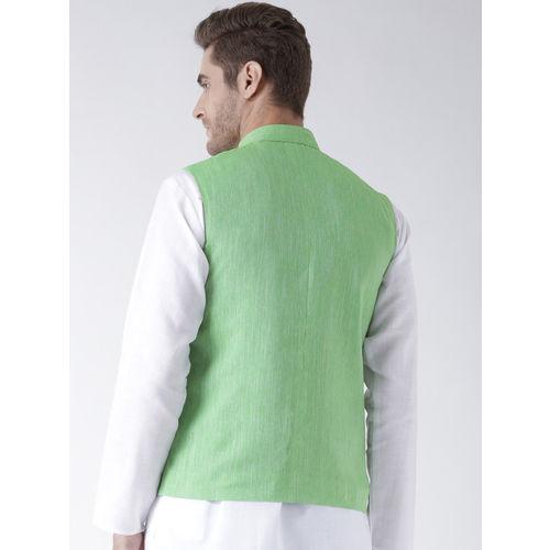 Hangup Men Lime Green Solid Nehru Jacket