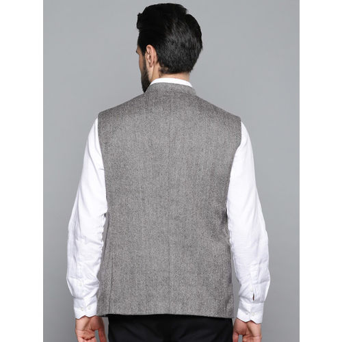 Louis Philippe Men Grey & Black Striped Regular Fit Wool Nehru Jacket