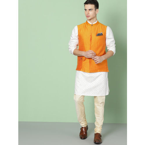 House of Pataudi Men Mustard Yellow Solid Nehru Jacket