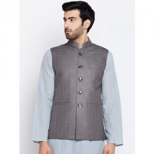 FIRST DATE Men Grey Checked Nehru Jacket