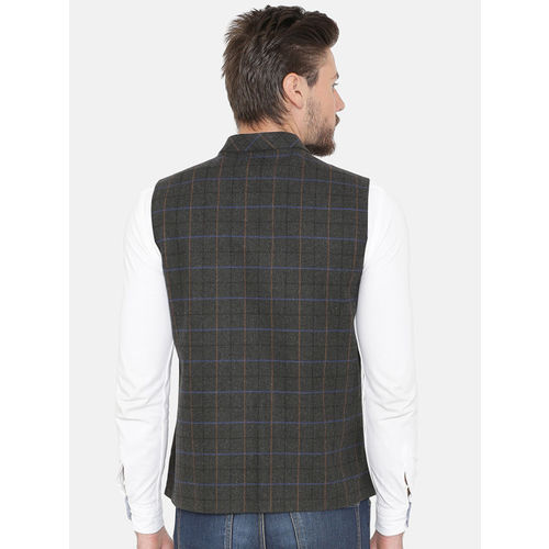 NEUDIS Men Grey Checked Woolen Nehru Jacket