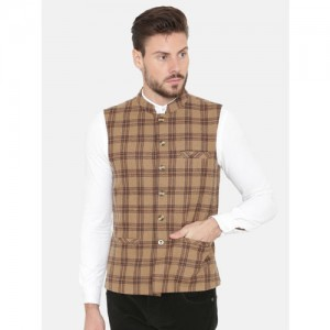 NEUDIS Men Brown and Black Checked Wool Sleeveless Nehru Jacket