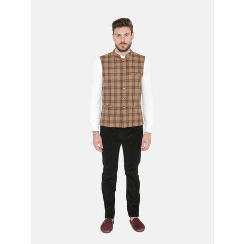 NEUDIS Men Brown and Black Checked Wool Sleeveless Nehru Jacket