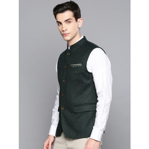 Louis Philippe Men Green Solid Slim Fit Wool Nehru Jacket