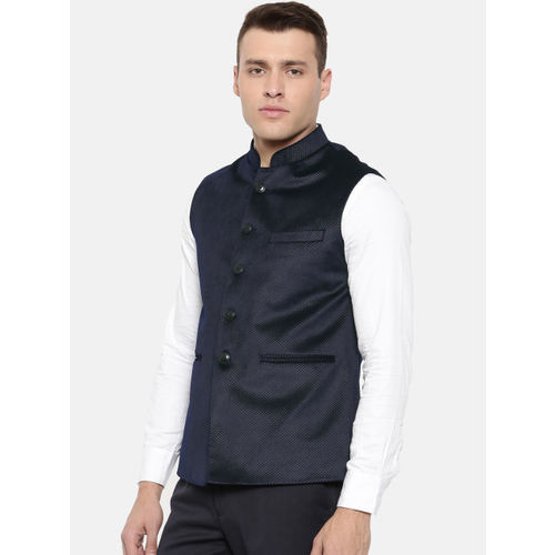 Raymond Navy Blue Self Design Nehru Jacket