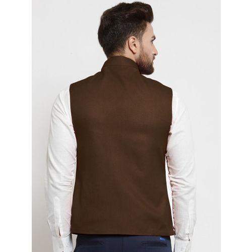 TREEMODA Men Chocolate Brown Solid Nehru Jacket
