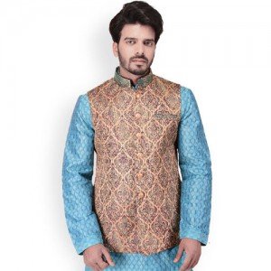 Manyavar Men Beige & Blue Woven Design Nehru Jacket