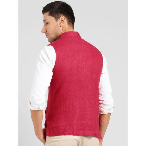 KISAH Men Pink Woven Design Bhagalpuri Silk Nehru Jacket