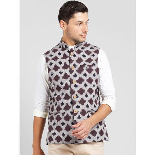 KISAH Men Grey & Brown Printed Nehru Jacket