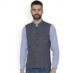 NEUDIS Men Blue Checked Nehru Jacket
