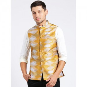KISAH Men Mustard & Grey Printed Pure Silk Nehru Jacket