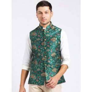 KISAH Men Green Printed Nehru Jacket