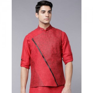 Svanik Men Red & Black Slim Fit Nehru Jacket