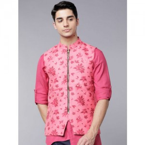 Svanik Men Pink Slim Fit Printed Nehru Jacket