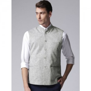 True Blue Men Grey Solid Nehru Jacket