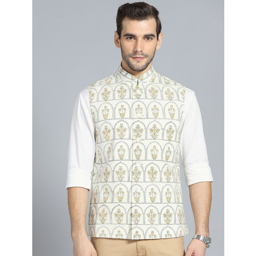 Rohit Bal Limited Men Cream-Coloured & Mustard Yellow Block Print Nehru Jacket
