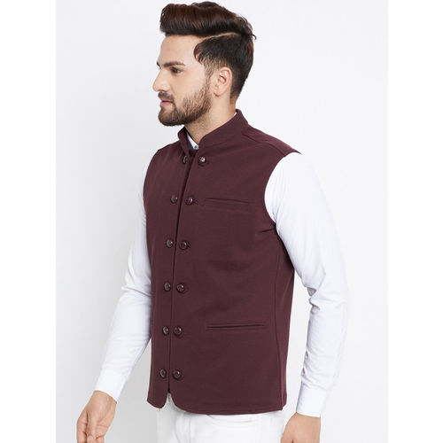 Hypernation Men Brown Nehru Jacket