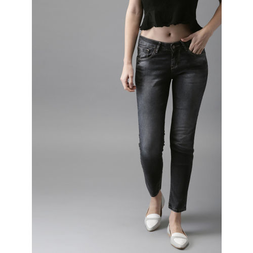 HERE&NOW Women Grey Regular Fit Mid-Rise Clean Look Stretchable Cropped Jeans