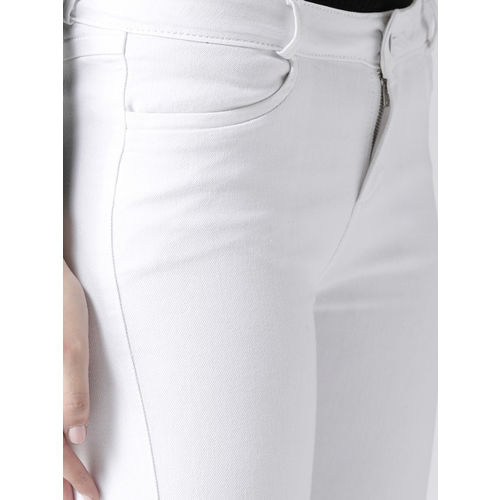 Xpose Women White Skinny Fit Mid-Rise Clean Look Stretchable Cropped Jeans