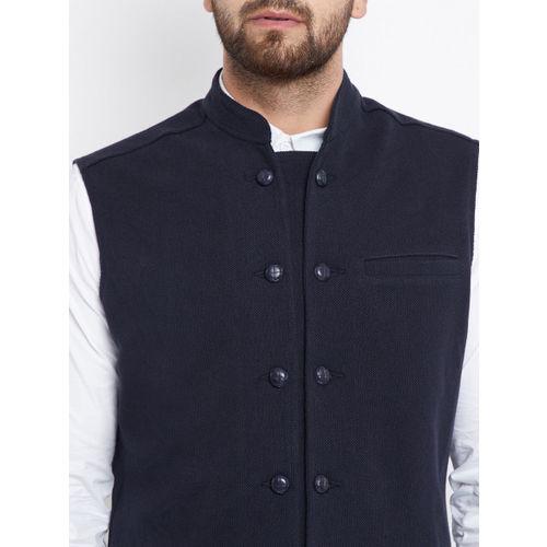 Hypernation Men Navy-Blue Nehru Jacket