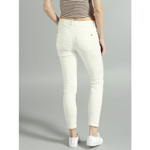 Roadster Women White Skinny Fit Mid-Rise Slash Knee Stretchable Jeans
