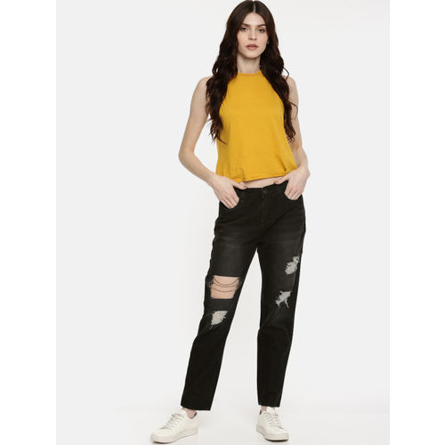 Roadster Women Black Regular Fit Mid-Rise Highly Distressed Jeans