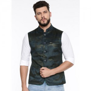 SPYKAR Men Blue & Black Camouflage Print Nehru Jacket