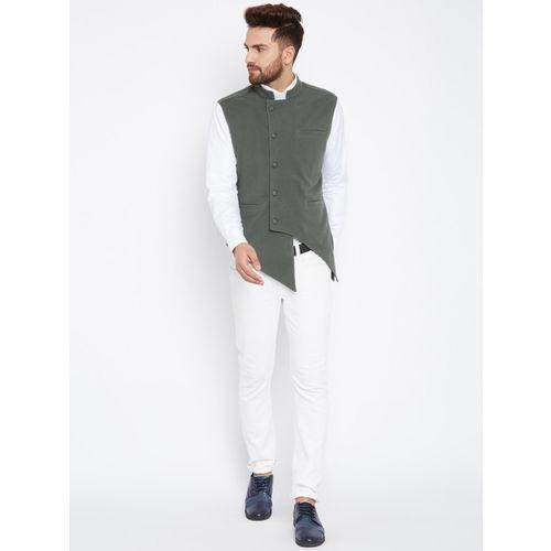 Hypernation Men Grey Woven Design Waistcoat