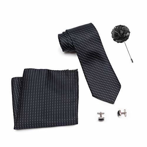 Axlon Men Formal/Casual Weaved Polyester Neck Tie Pocket Square Accessory Gift Set with Cufflinks and Lapel Pin - Black (Free Size, ltr_824)