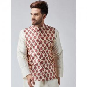 SOJANYA Maroon & Beige Printed Nehru Jacket