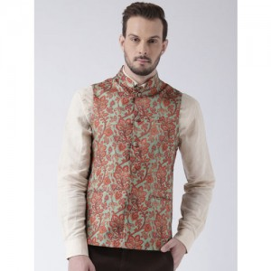 KISAH Men Green Printed Lightweight Nehru Jacket