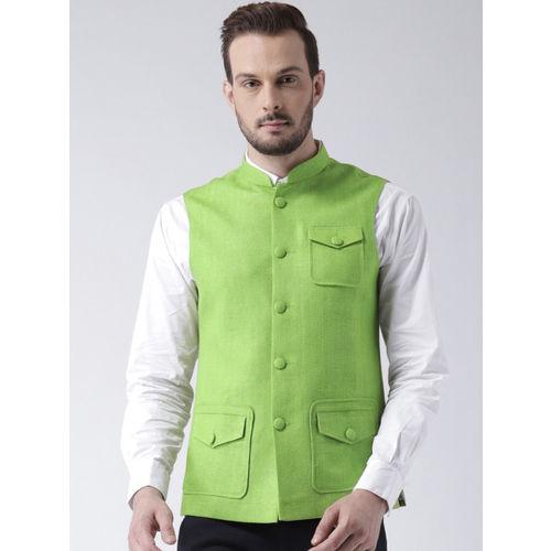 KISAH Men Green Solid Lightweight Nehru Jacket