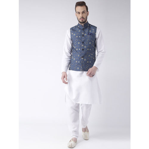 Hangup Men Blue Geometric Print Nehru Jacket