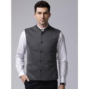 True Blue Navy Self Design Nehru Jacket
