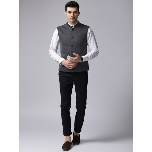 True Blue Navy Self Design Nehru Jacket