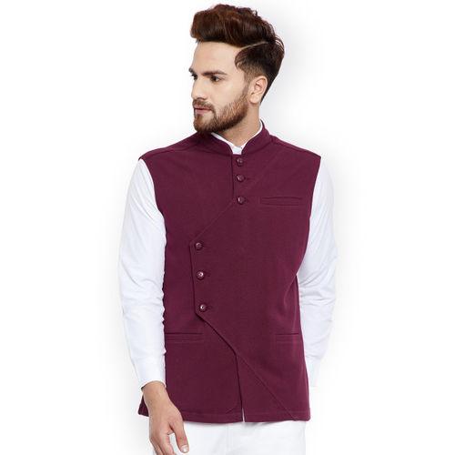Hypernation Men Maroon Solid Nehru Jacket